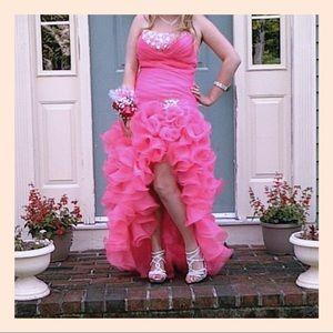 'flirt' gorgeous pink high low prom dress size 8